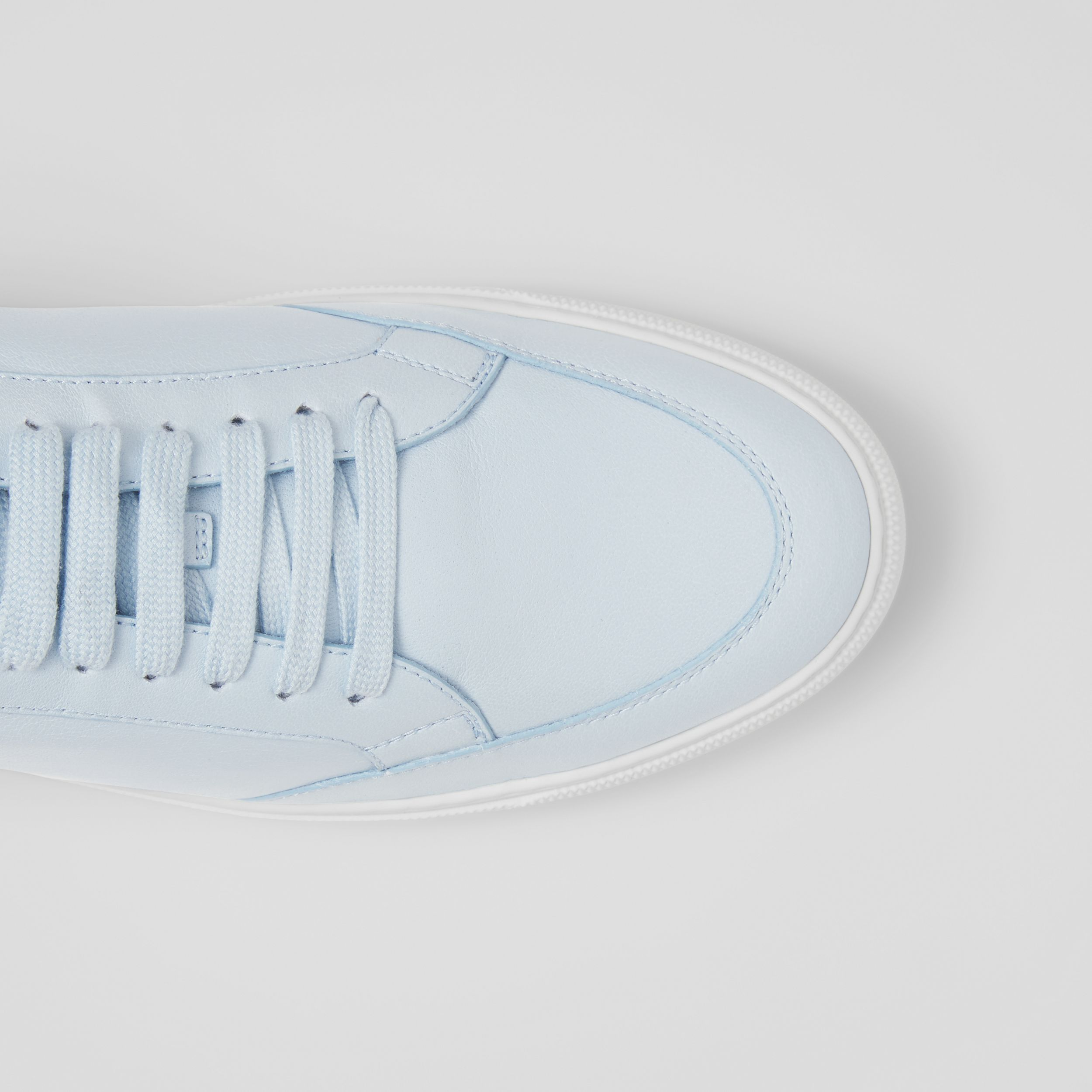 Logo Detail Lambskin Sneakers in Pale Blue - Women | Burberry - 2