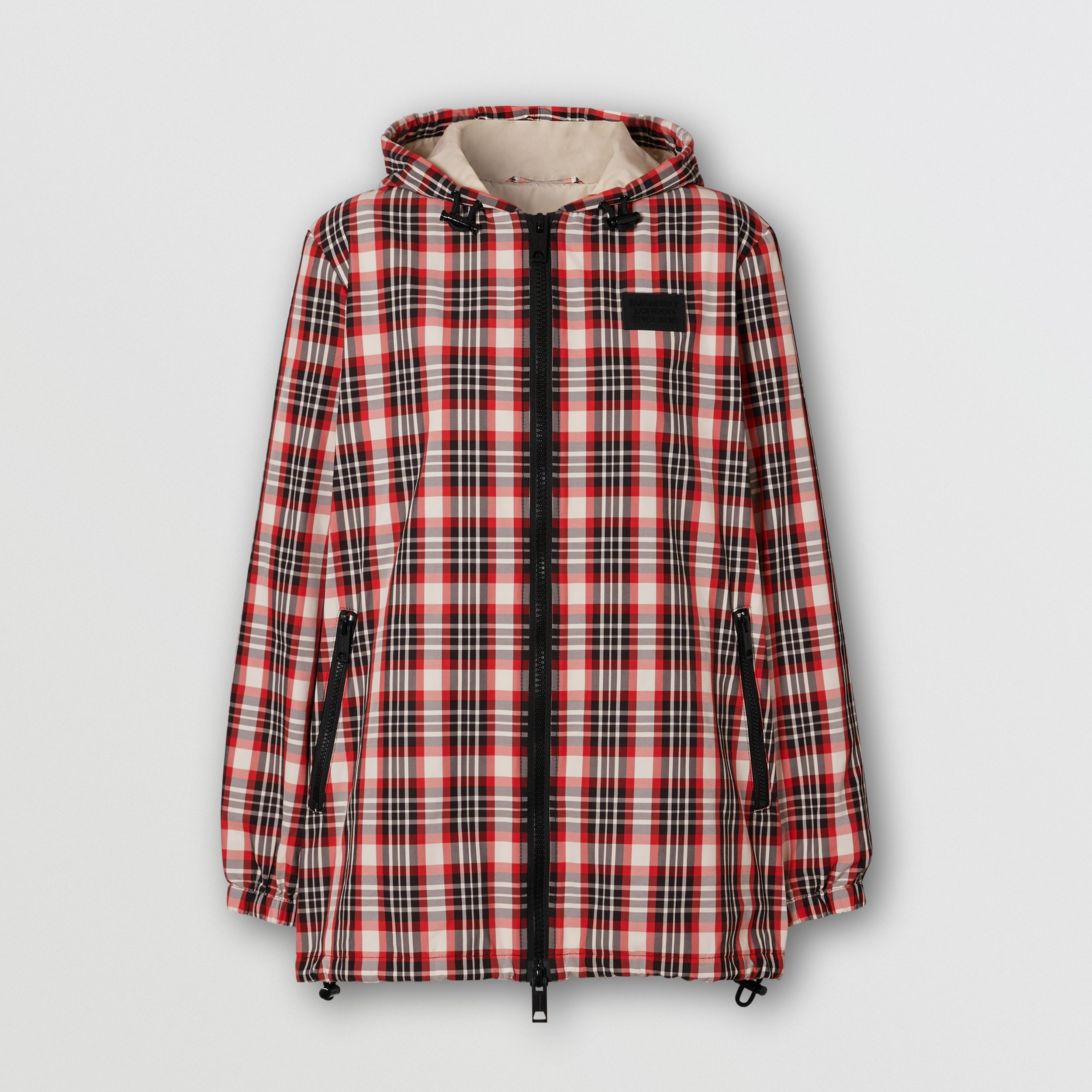 Logo Appliqué Tartan Nylon Parka in Bright Red - Women | Burberry - 4