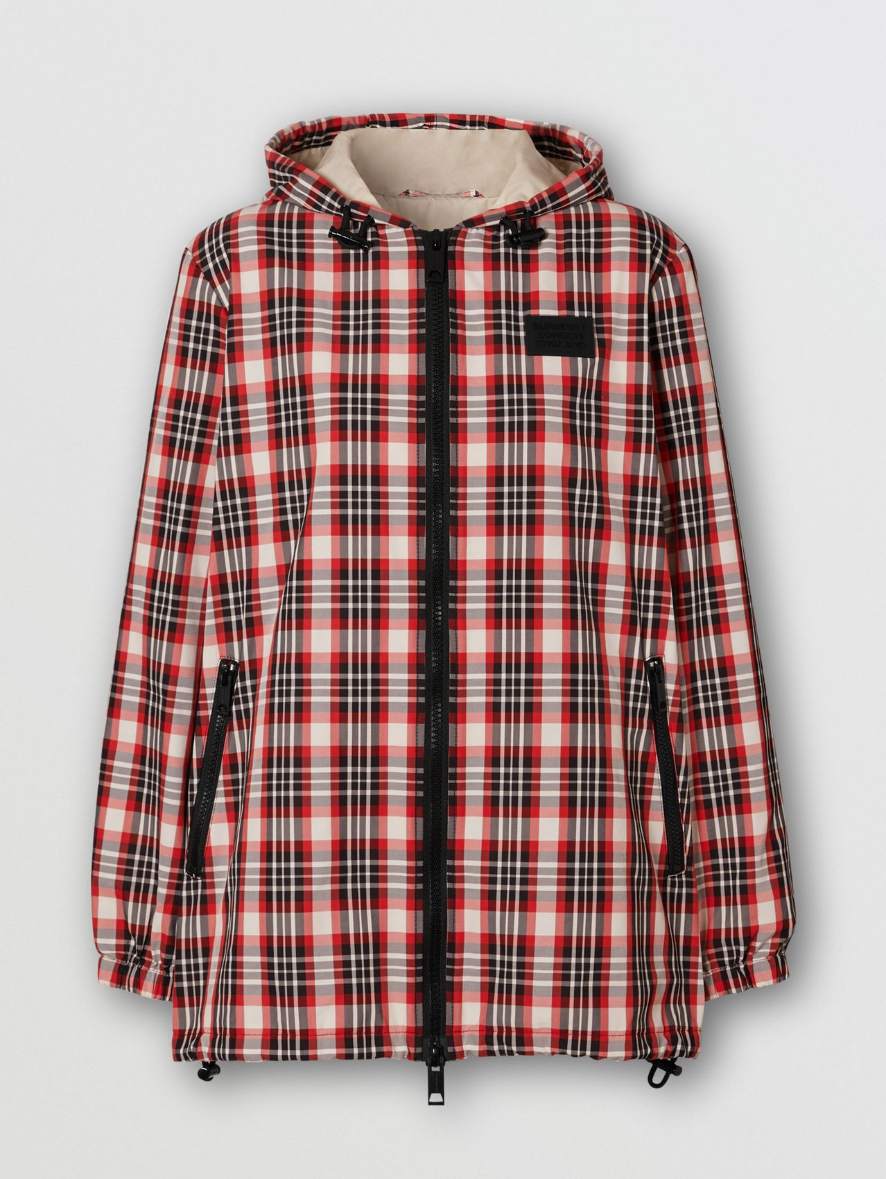 Logo Appliqué Tartan Nylon Parka in Bright Red