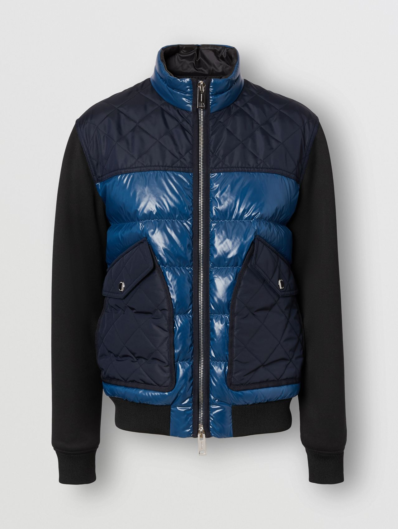 Diamond Quilted Panel Puffer Jacket in Teal Blue