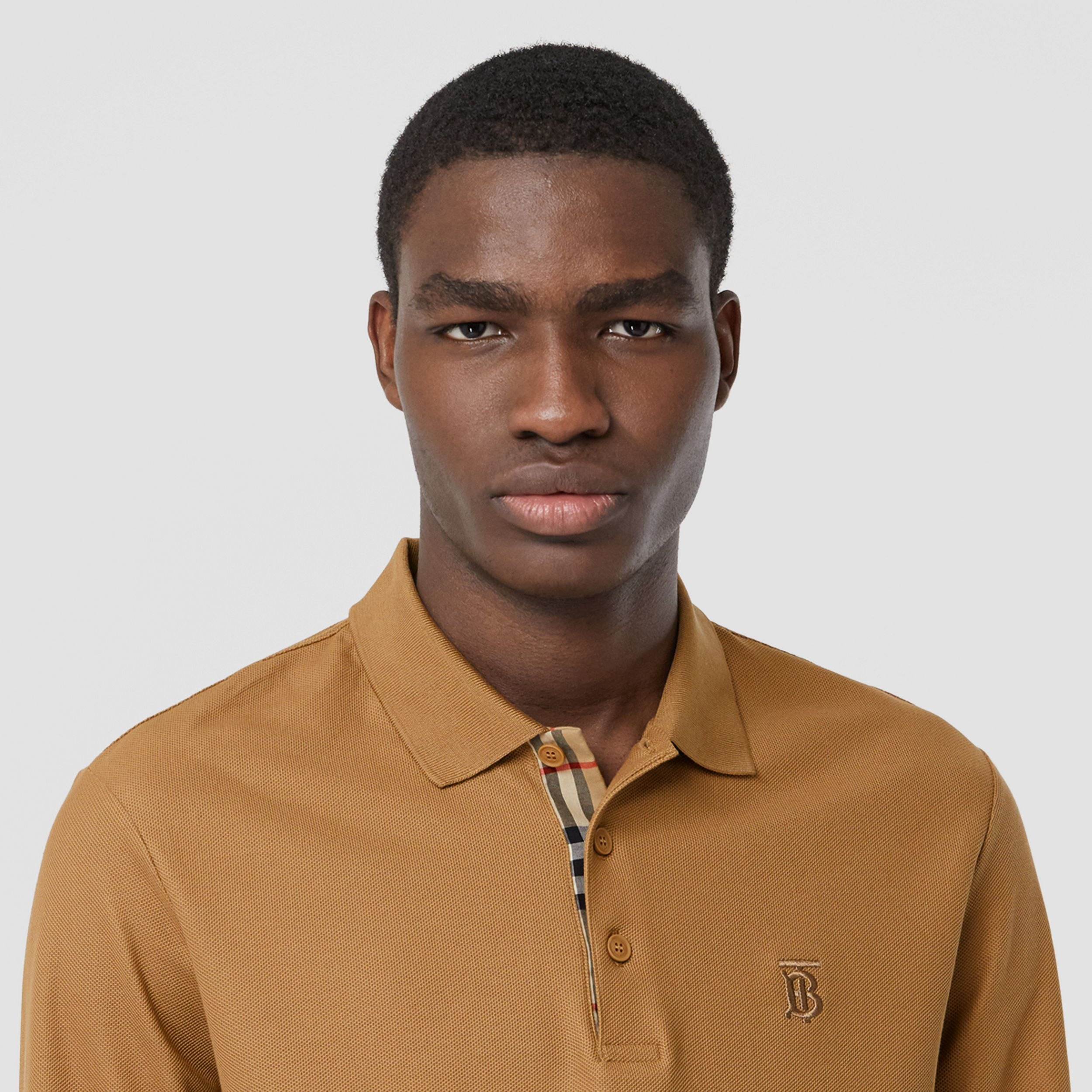 Long-sleeve Monogram Motif Cotton Piqué Polo Shirt in Camel - Men | Burberry - 2