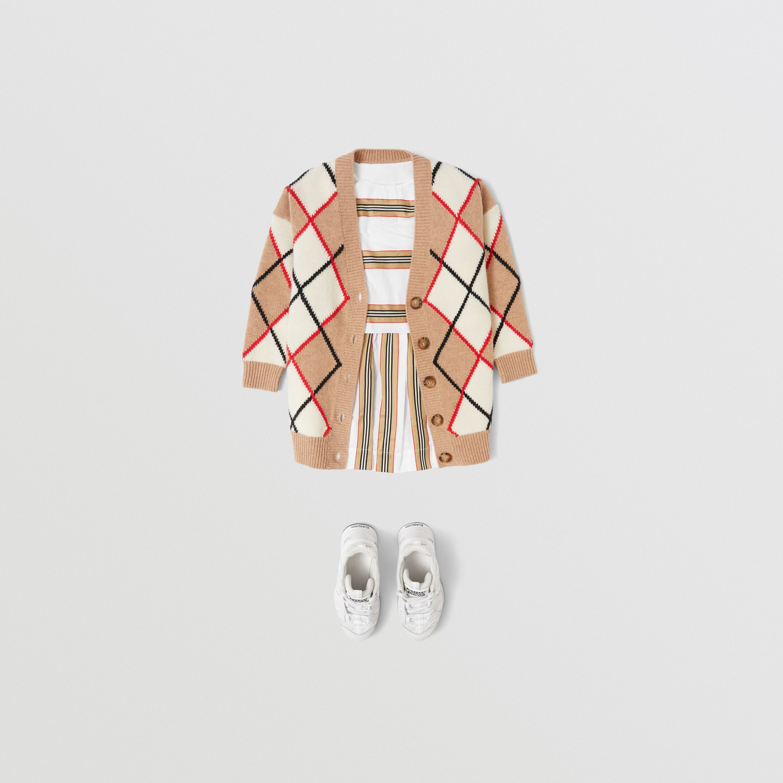 Icon Stripe Cotton Two-piece Set in White | Burberry - 4