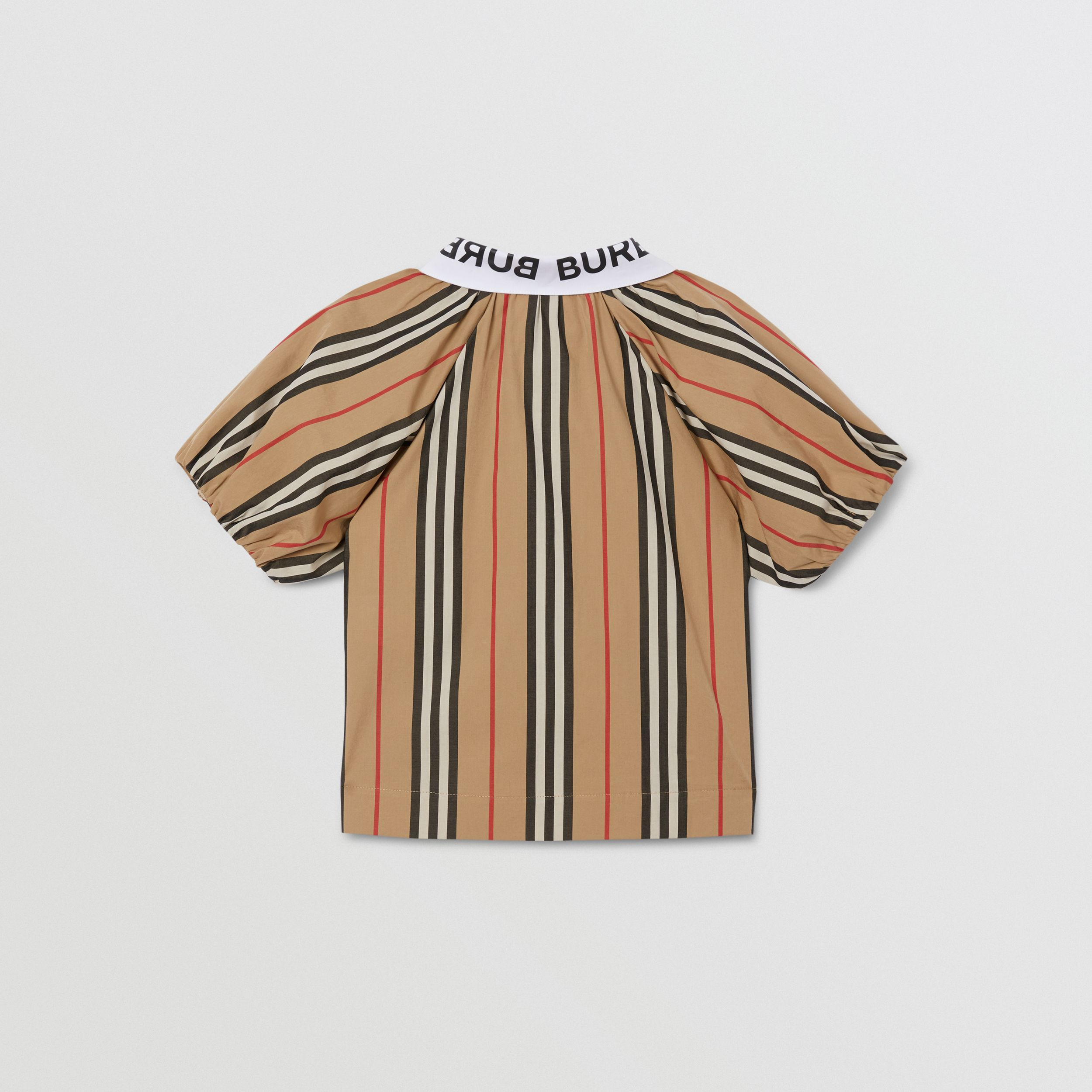 Logo Print Puff-sleeve Icon Stripe Cotton Blouse | Burberry - 4