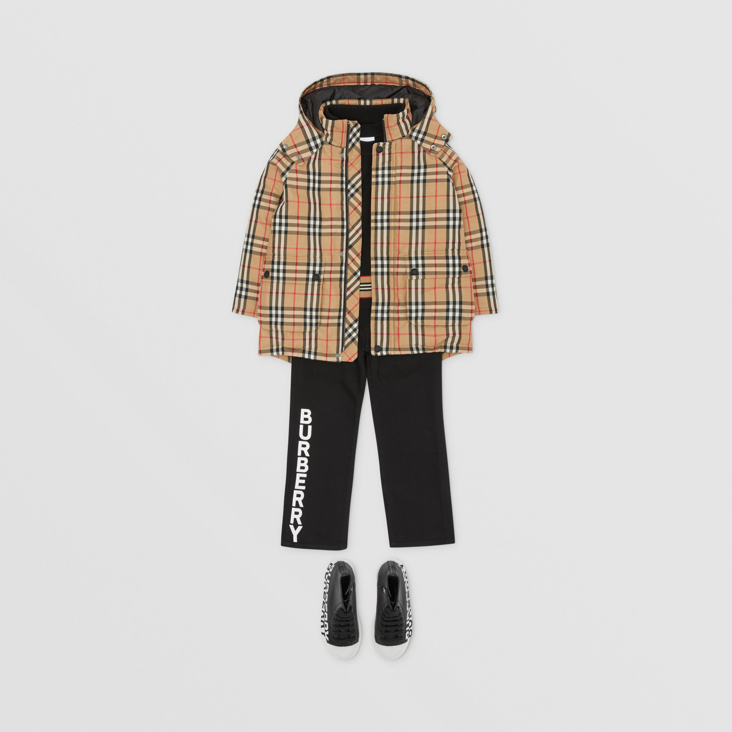Vintage Check Down-filled Hooded Coat in Archive Beige | Burberry United Kingdom - 4