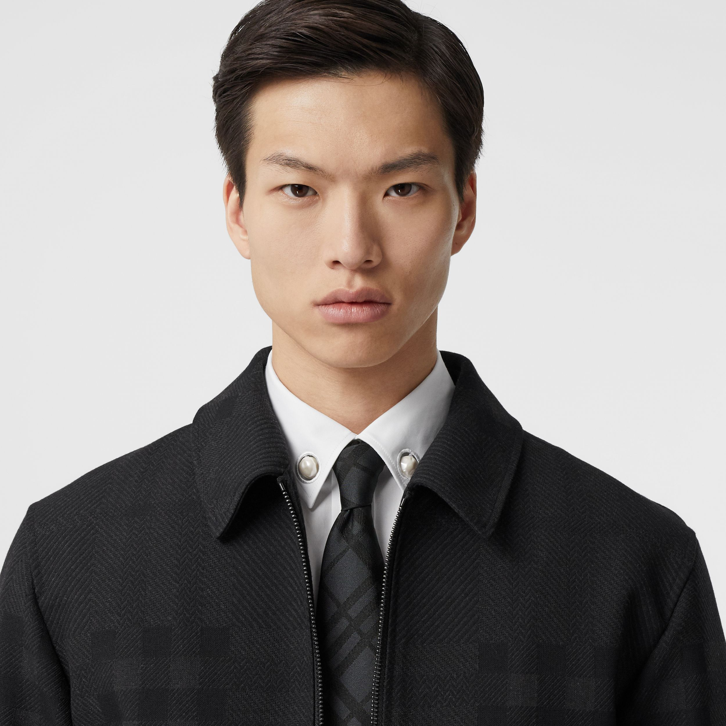 Classic Cut Check Silk Jacquard Tie in Black - Men | Burberry Australia - 3