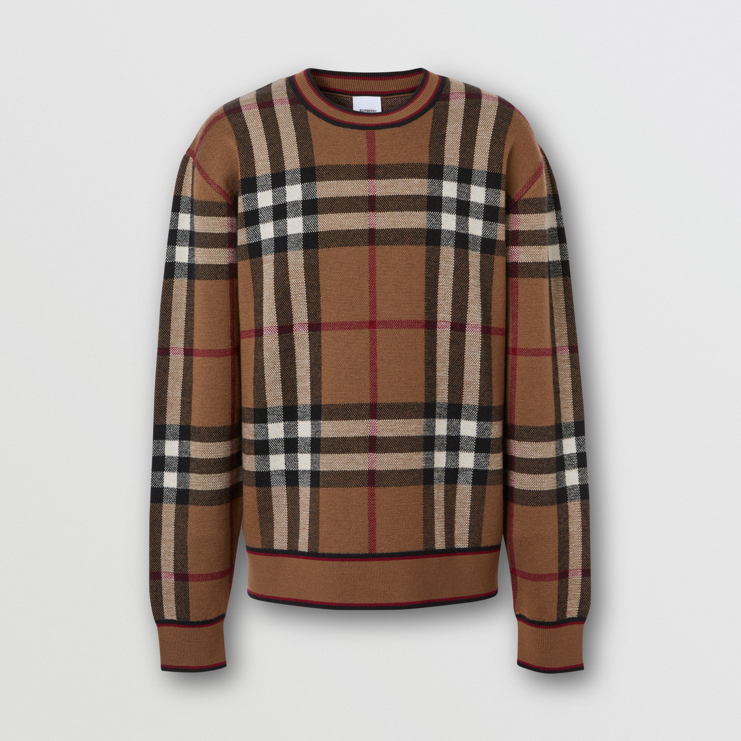 Check Merino Wool Jacquard Sweater in Birch Brown - Men | Burberry - 4