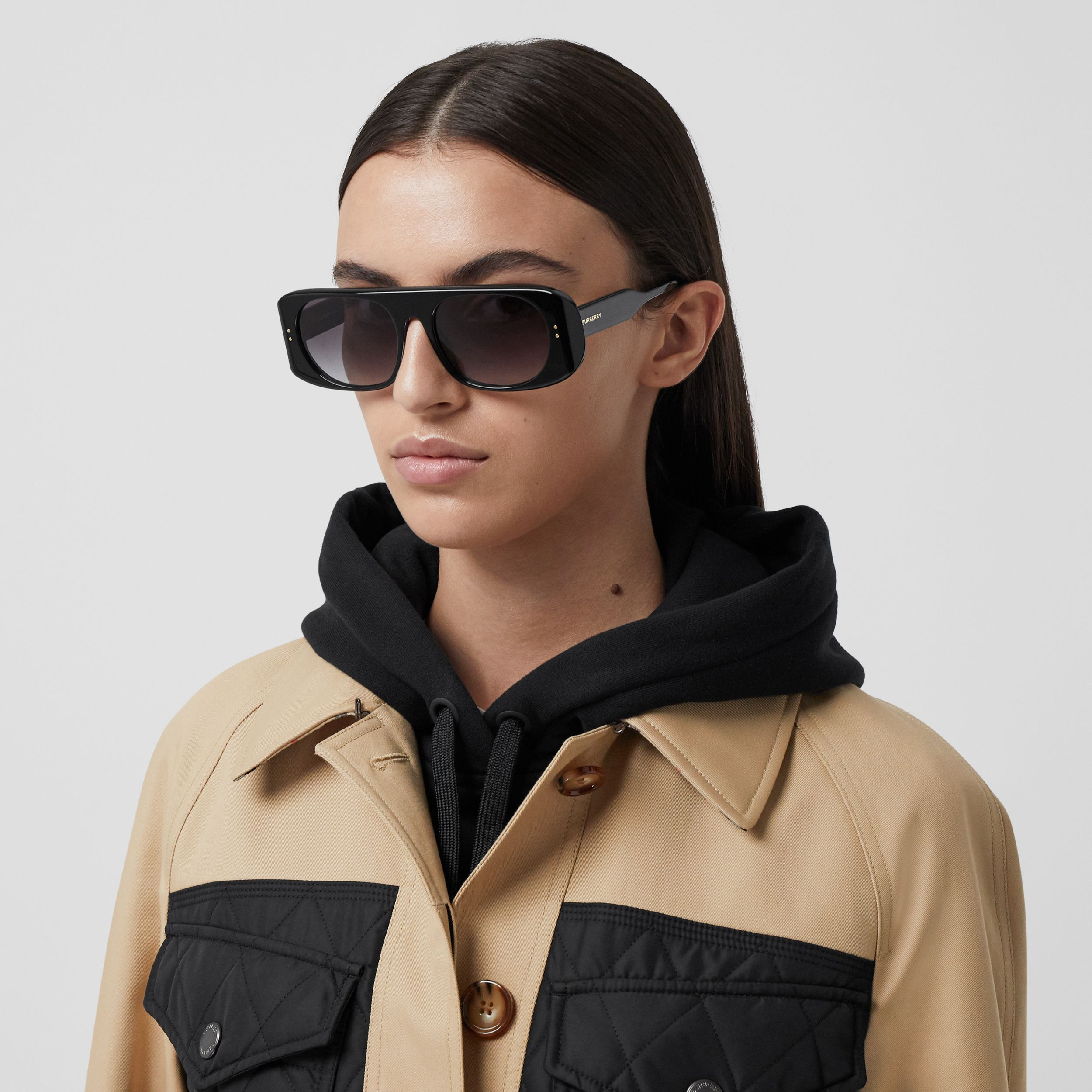 Diamond Quilted Panel Cotton Gabardine Car Coat in Honey - Women | Burberry - 2