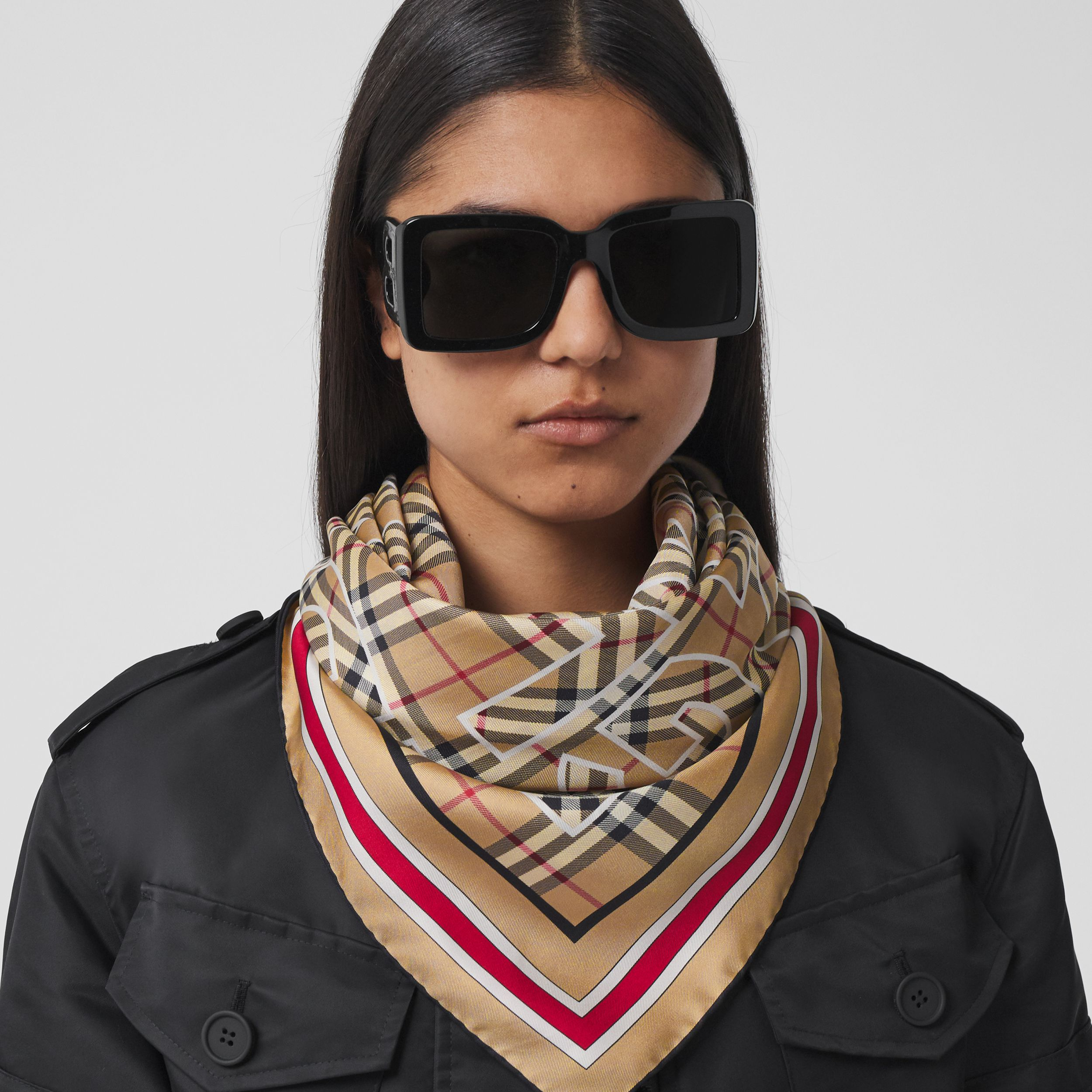 Logo Print Vintage Check Silk Square Scarf in Archive Beige | Burberry - 3