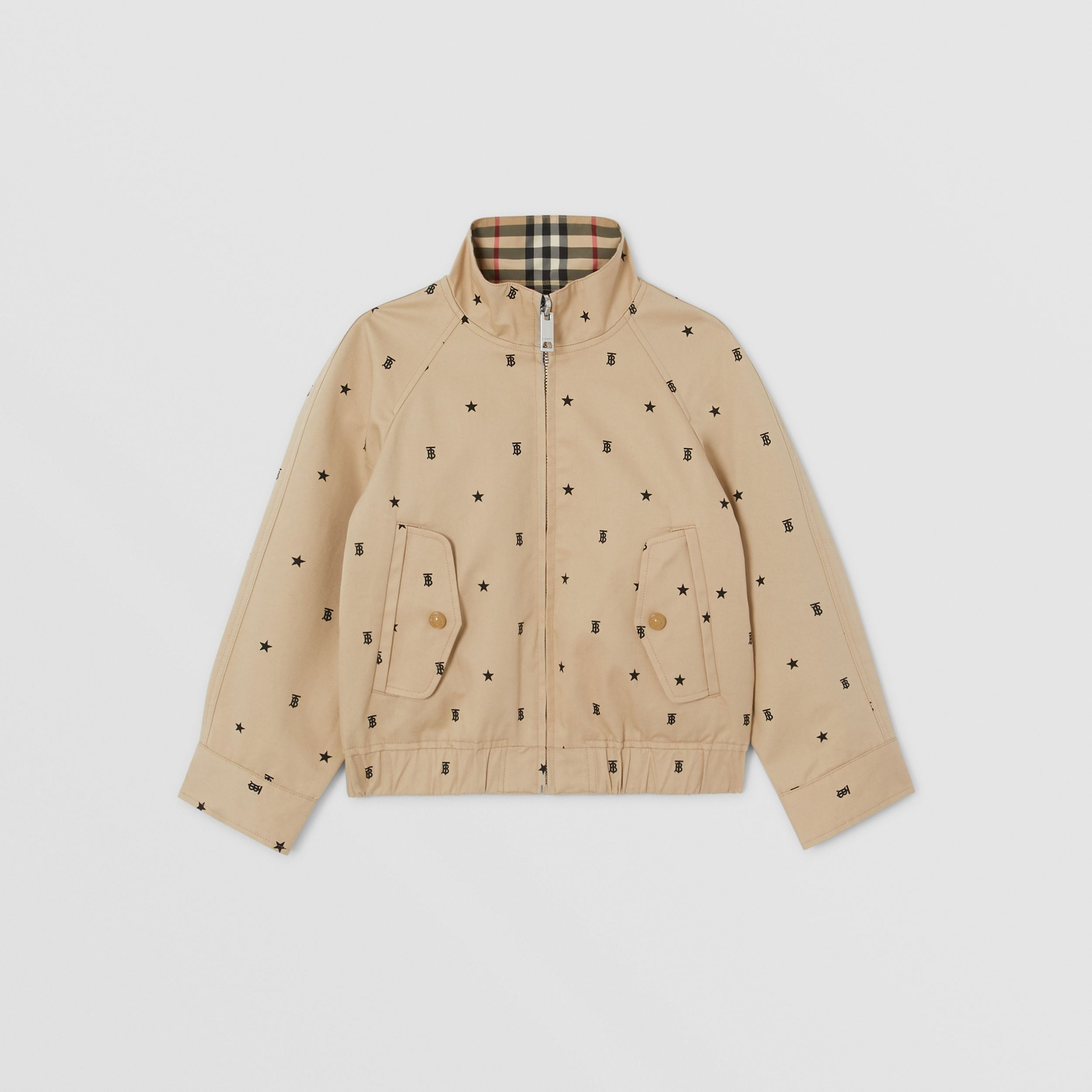 Reversible Star and Monogram Motif Cotton Jacket in Sand | Burberry - 1