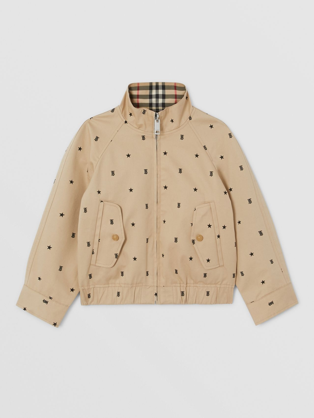 Reversible Star and Monogram Motif Cotton Jacket in Sand