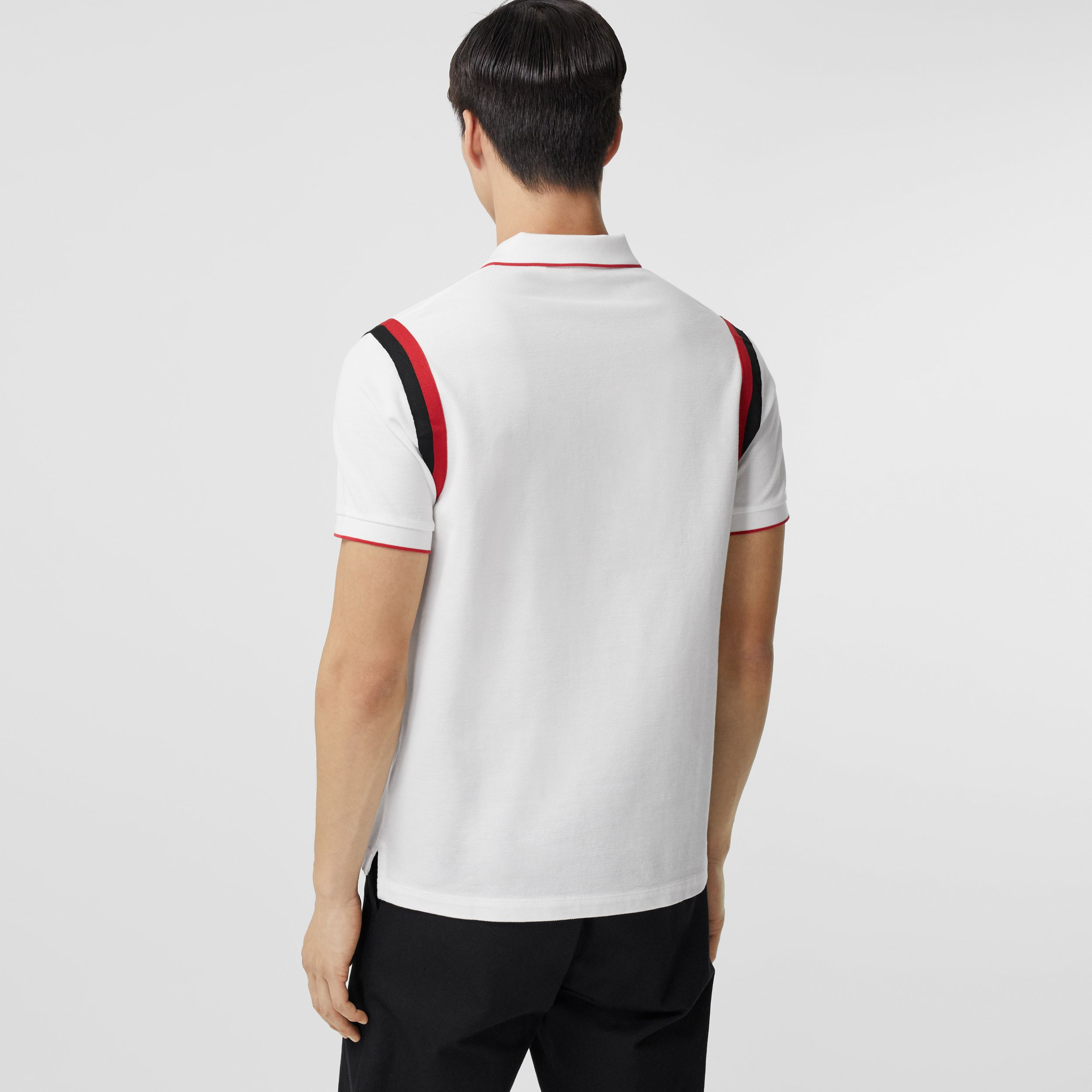 Logo Graphic Appliqué Cotton Piqué Polo Shirt in White - Men | Burberry - 3
