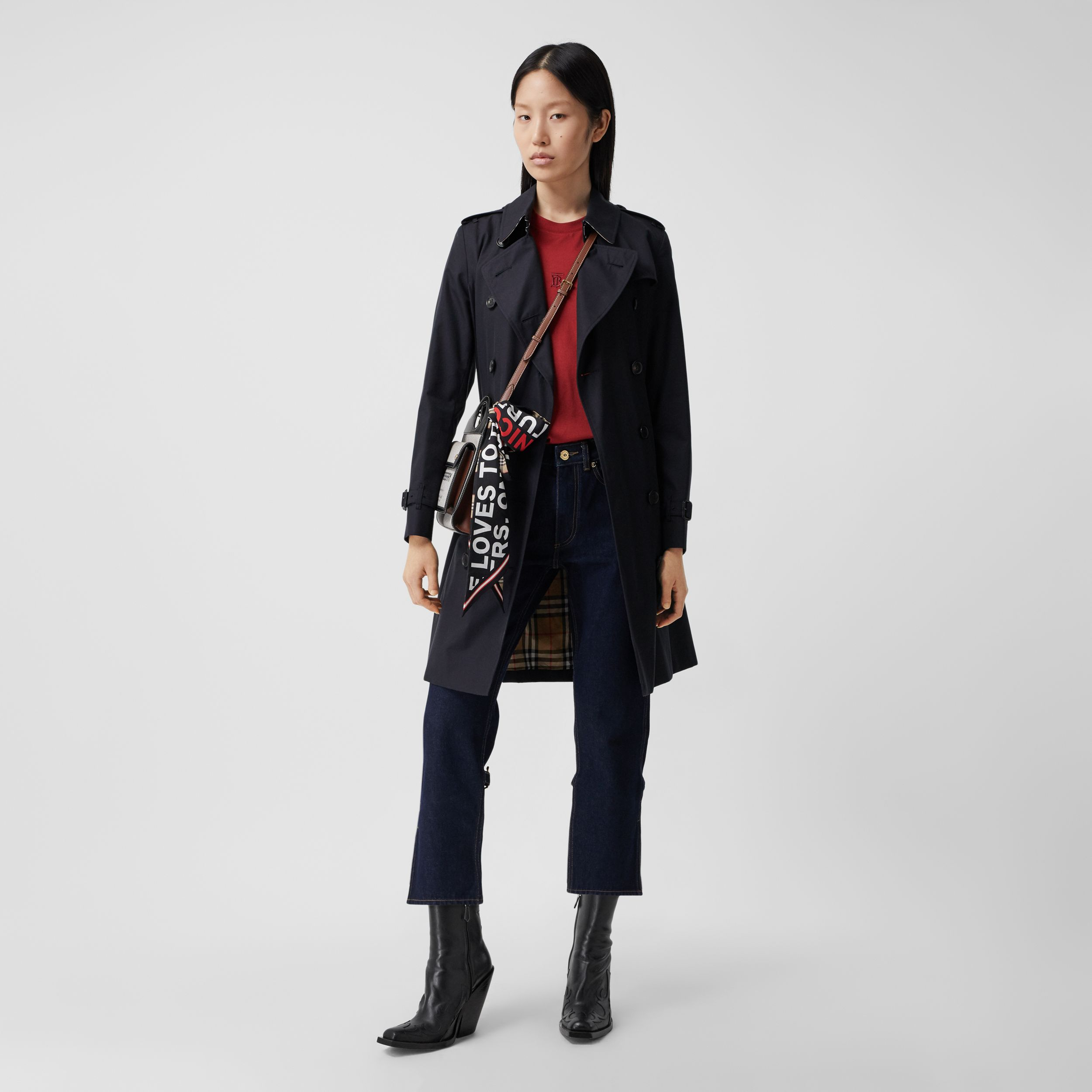 The Mid-length Kensington Heritage Trench Coat in Midnight - Women | Burberry - 1