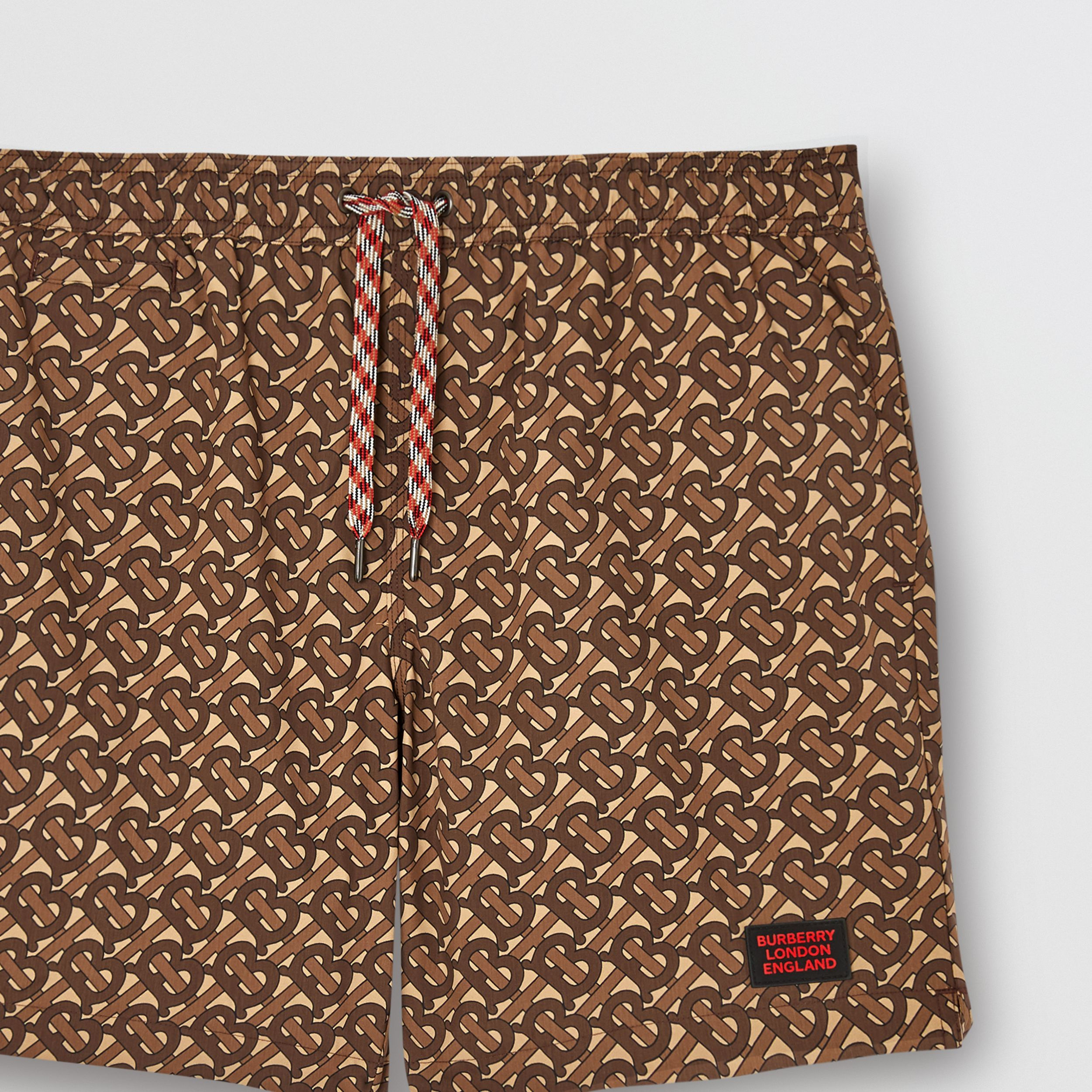 Monogram Print Drawcord Swim Shorts in Bridle Brown - Men | Burberry - 2