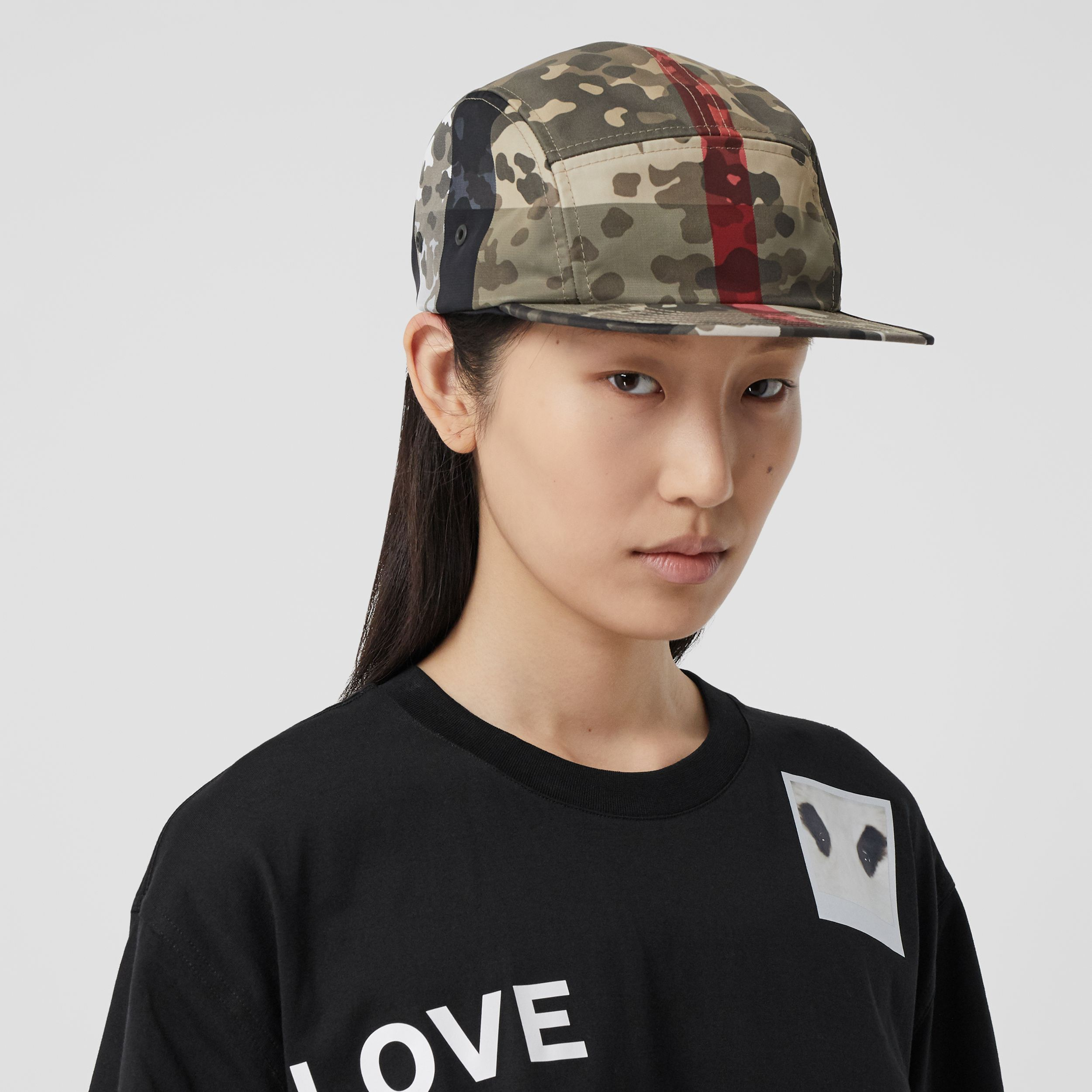Camouflage Check Nylon Cap in Archive Beige | Burberry - 3