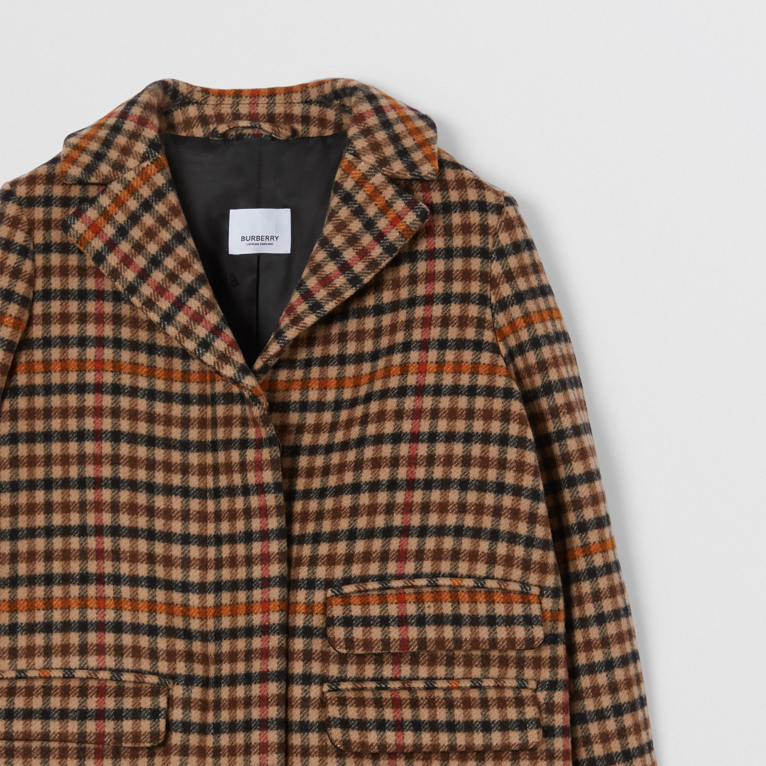 Embroidered Monogram Motif Check Wool Tailored Coat in Camel | Burberry - 4