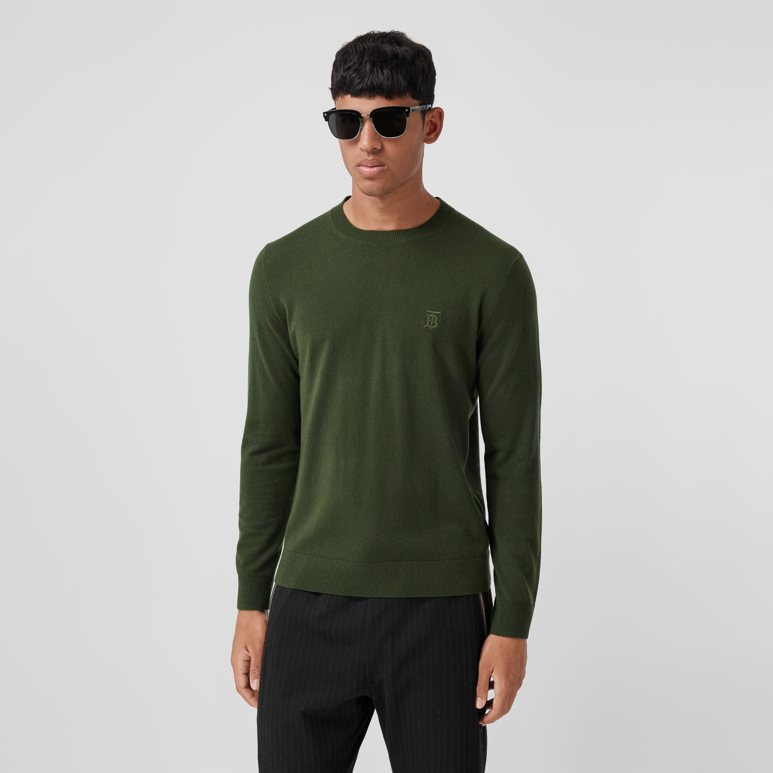 Monogram Motif Cashmere Sweater in Deep Khaki - Men | Burberry - 1