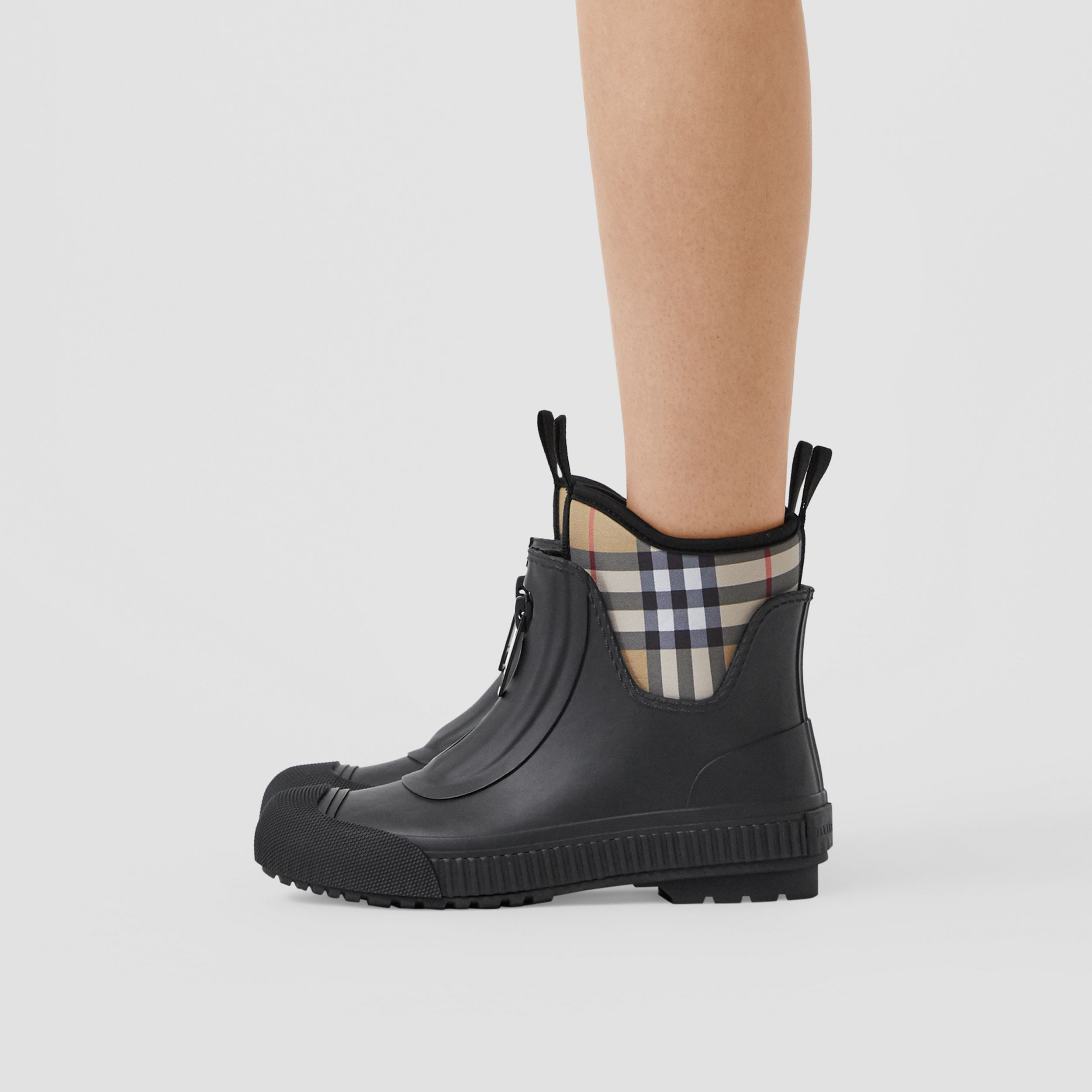 Vintage Check Neoprene and Rubber Rain Boots in Black - Women | Burberry - 3