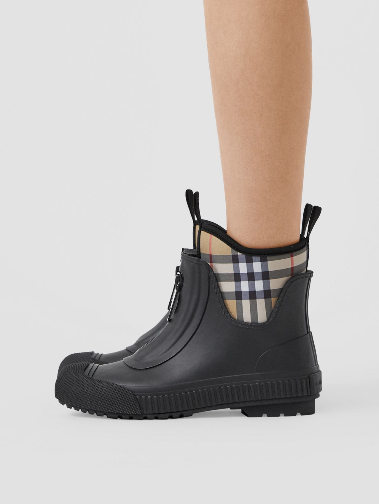 Vintage Check Neoprene and Rubber Rain Boots (Black)
