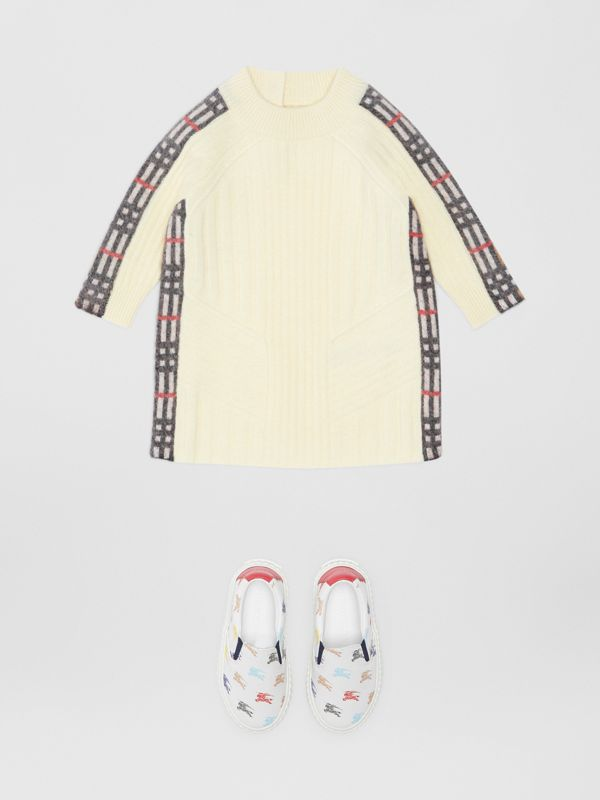 Check Detail Wool Cashmere Dress in Ivory - Children | Burberry - cell image 2