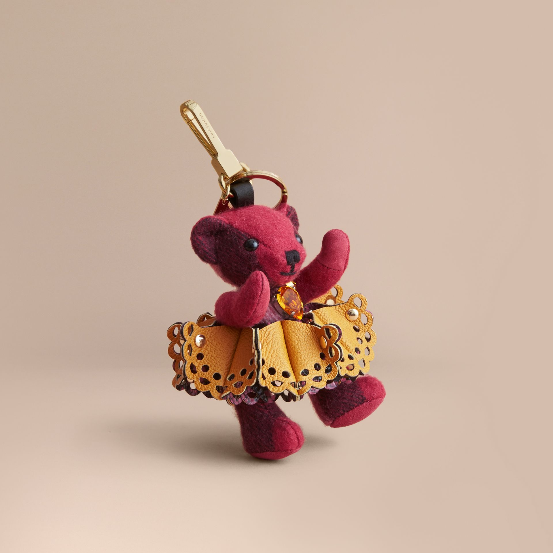 Thomas Bear Charm in Leather Lace and Crystals in Fuchsia Pink - Women | Burberry - gallery image 0