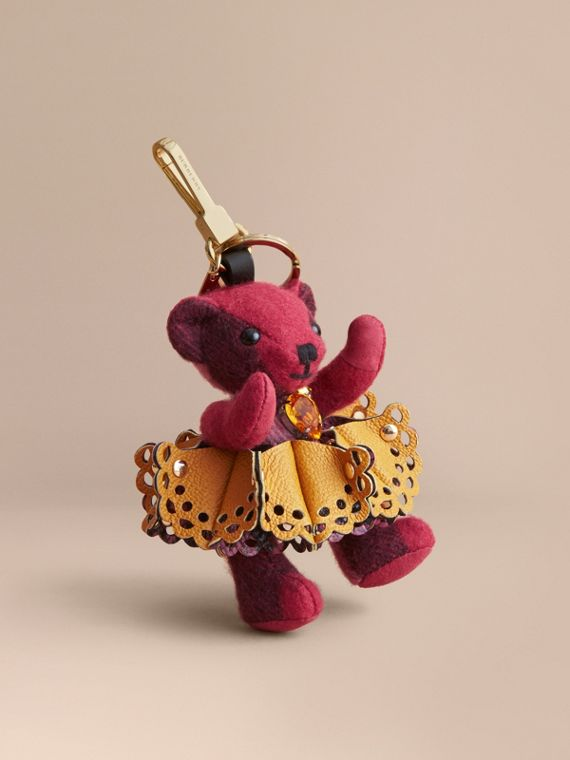 Thomas Bear Charm in Leather Lace and Crystals in Fuchsia Pink