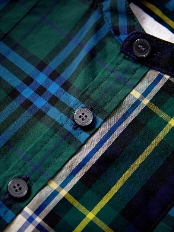 Panelled Tartan and Check Cotton Poplin Shirt in Forest Green | Burberry United Kingdom - cell image 1