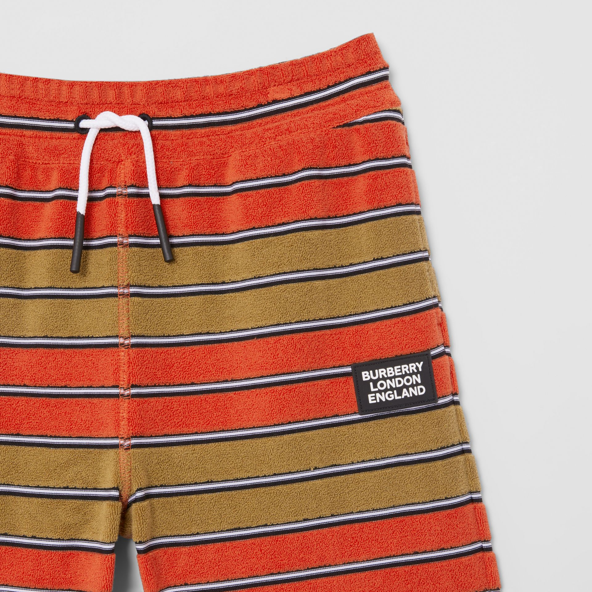 Logo Appliqué Striped Towelling Shorts in Vermilion Red | Burberry - gallery image 4