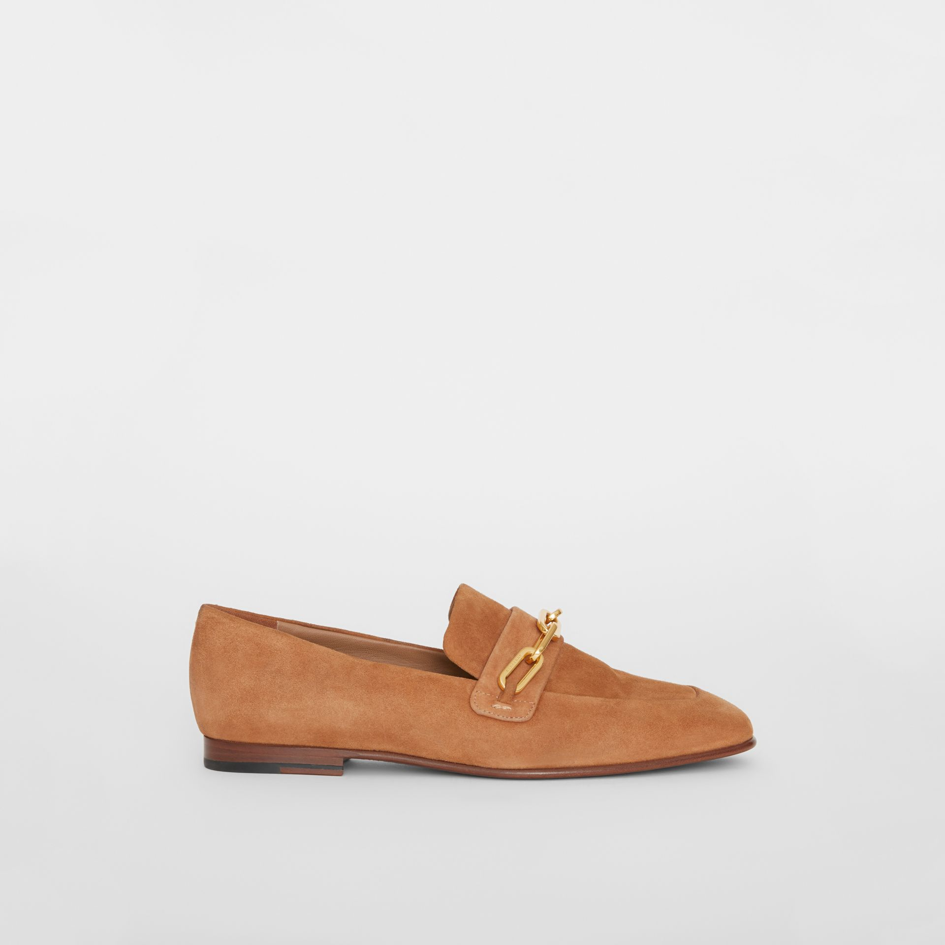 Link Detail Suede Loafers in Mid Camel - Women | Burberry - gallery image 5