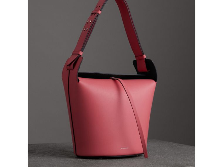 The Medium Leather Bucket Bag in Bright Coral Pink - Women | Burberry - cell image 4