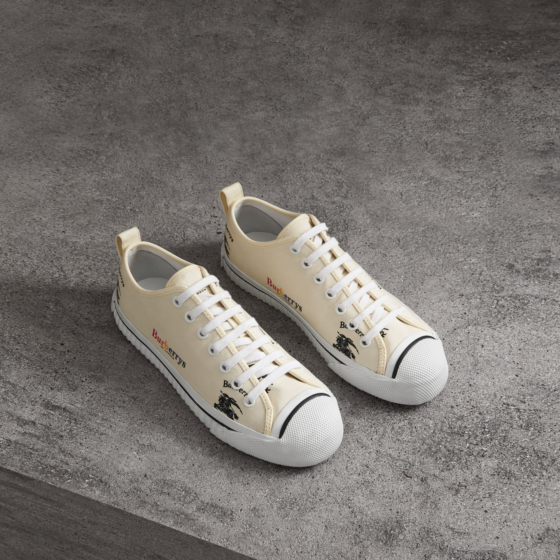 Archive Logo Cotton Sneakers in Off White - Women | Burberry - gallery image 0