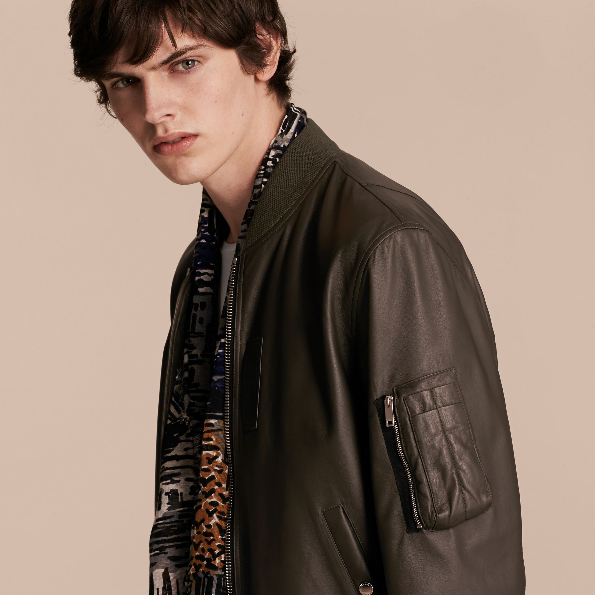 Lightweight Lambskin Bomber Jacket in Olive - gallery image 5