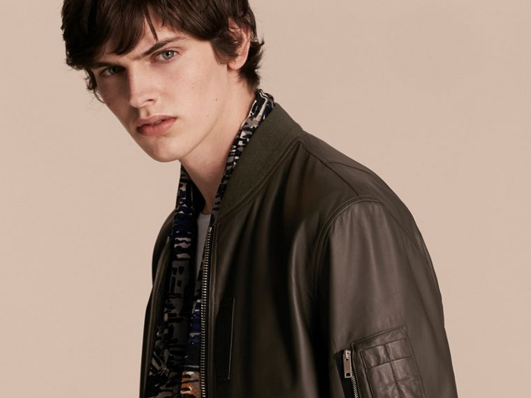 Lightweight Lambskin Bomber Jacket in Olive - cell image 4
