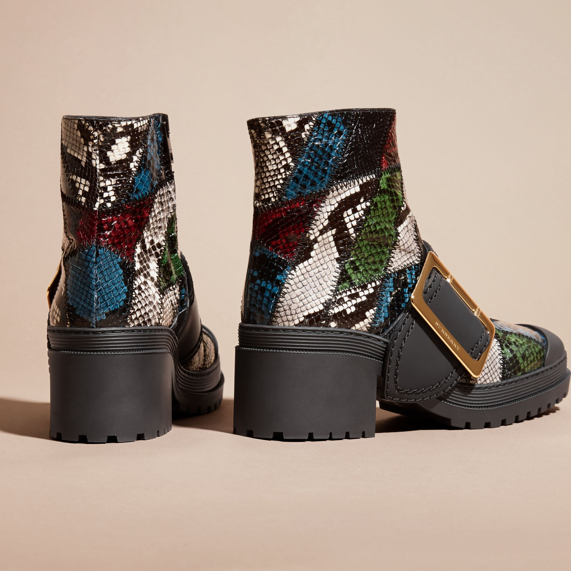 Mineral blue/black The Buckle Boot in Snakeskin and Rubberised Leather - gallery image 4
