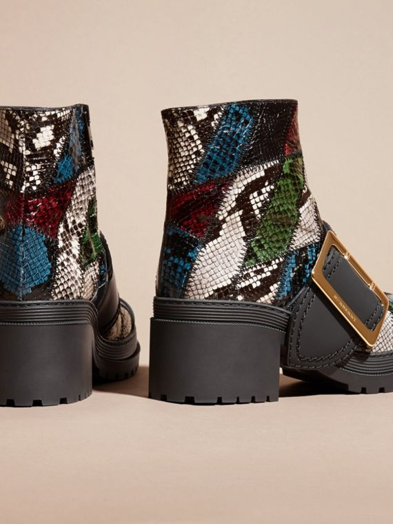 Mineral blue/black The Buckle Boot in Snakeskin and Rubberised Leather - cell image 3