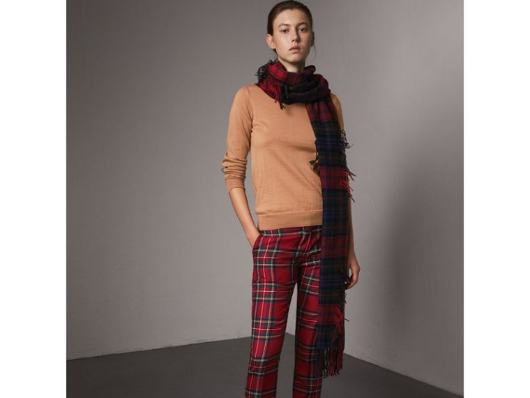 Check Detail Merino Wool Sweater in Camel - Women | Burberry Singapore - cell image 4