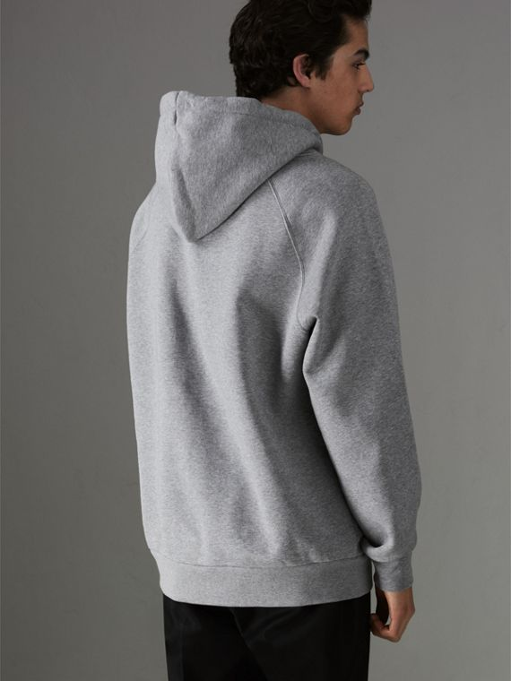 Embroidered Archive Logo Jersey Hoodie in Pale Grey Melange - Men | Burberry - cell image 2
