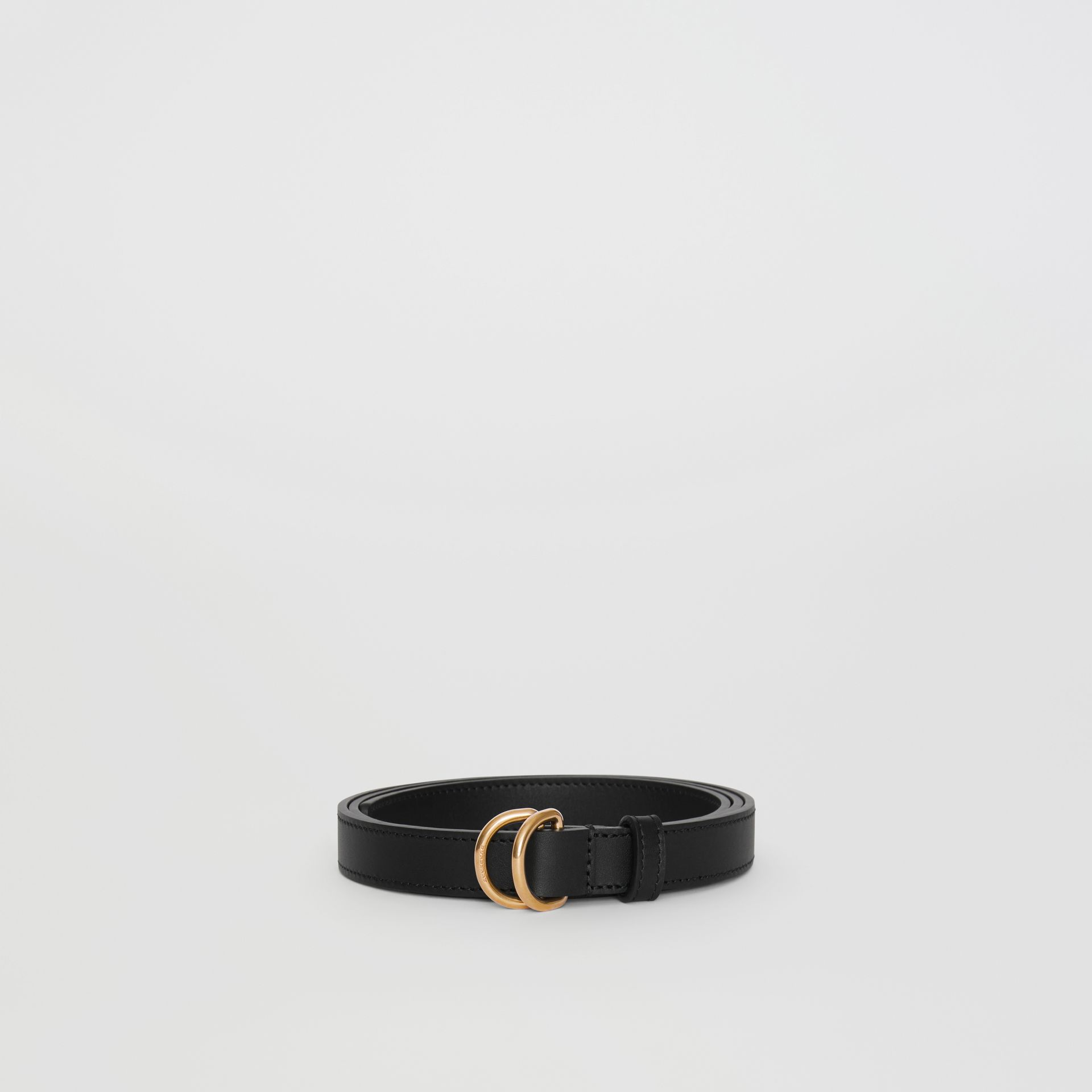 Slim Leather Double D-ring Belt in Black/dark Brass - Women | Burberry - gallery image 3