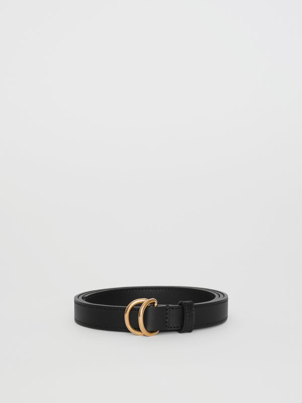 Slim Leather Double D-ring Belt in Black/dark Brass - Women | Burberry - cell image 3