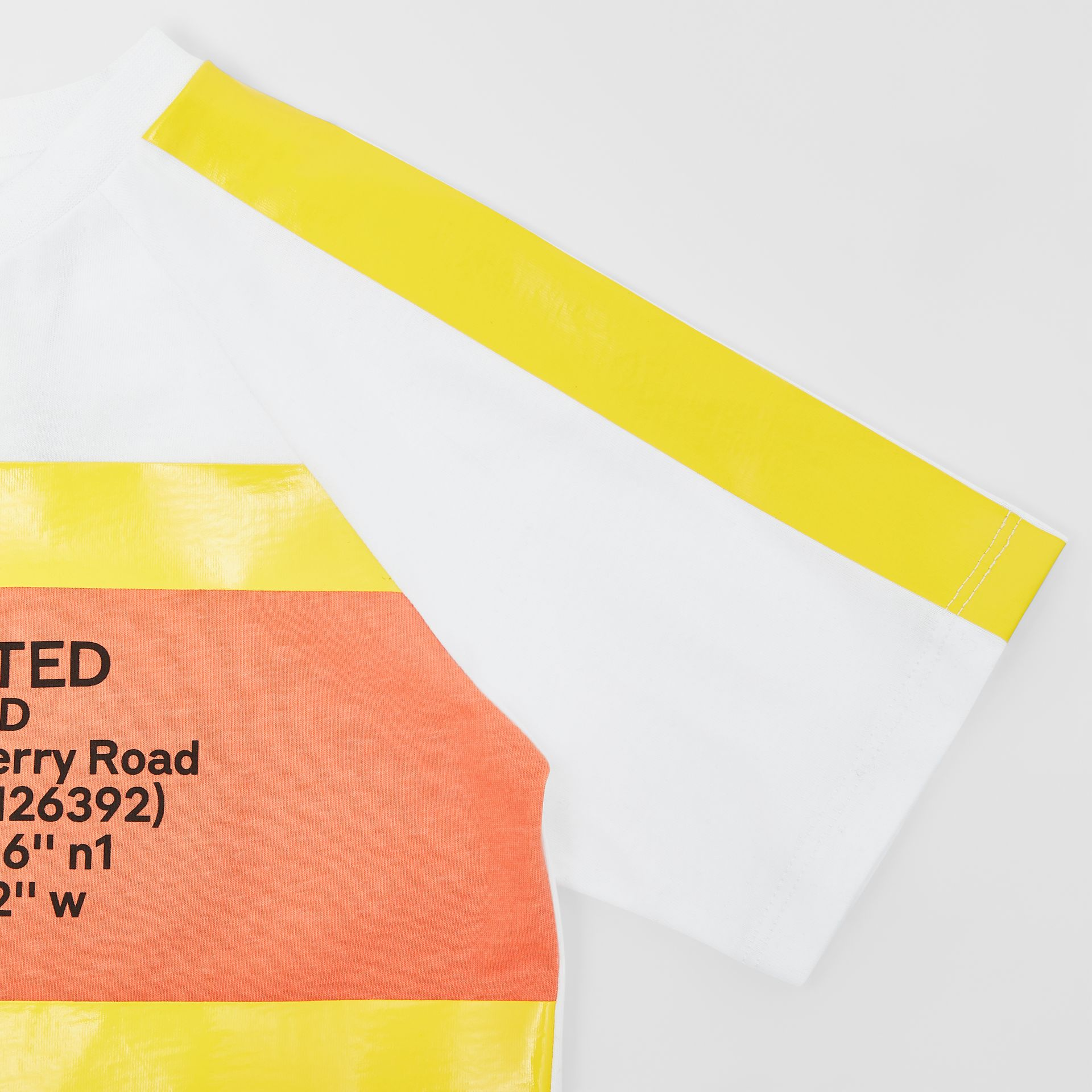 Tape Detail Location Print Cotton T-shirt in Yellow   Burberry - gallery image 4
