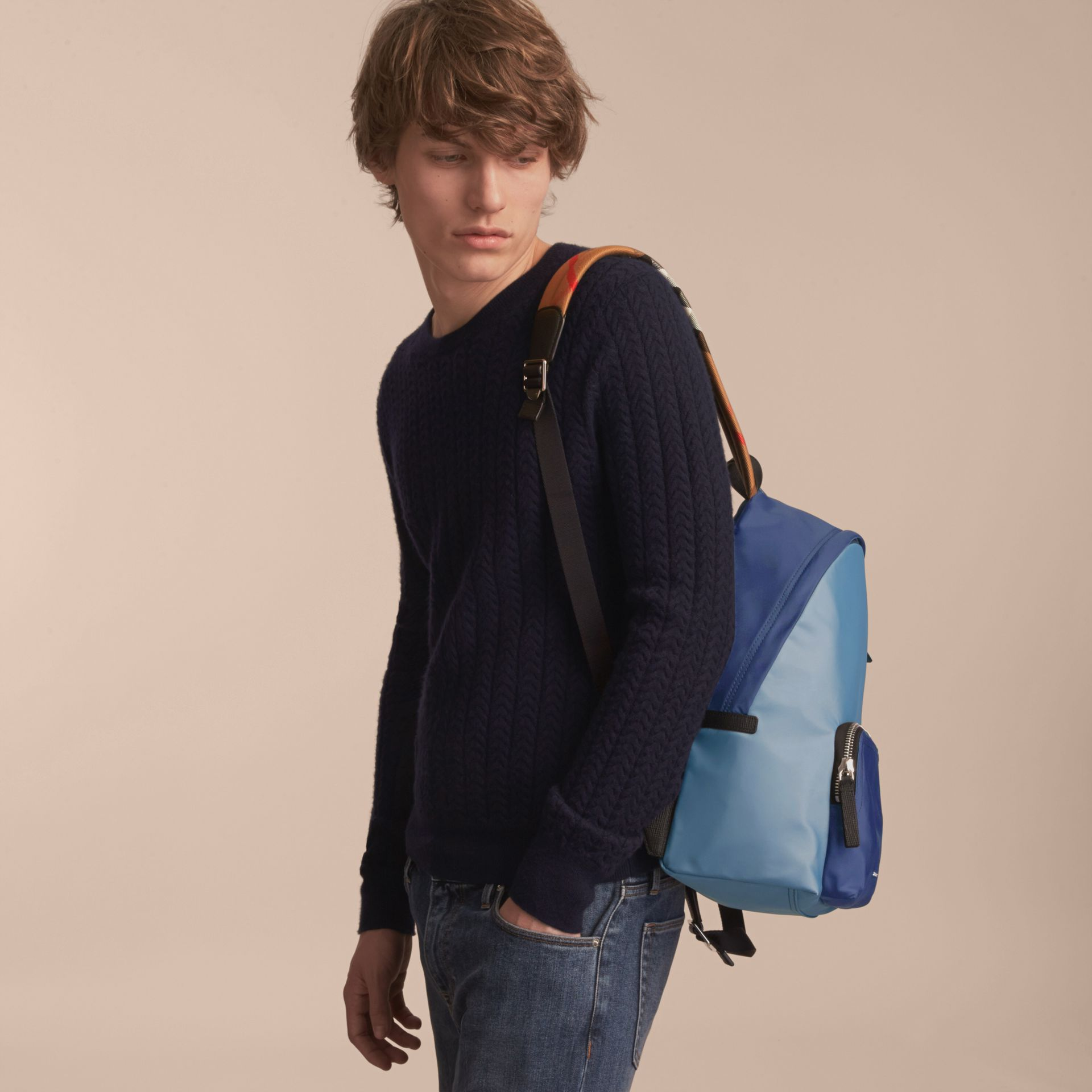 Leather and House Check Trim Technical Backpack in Slate Blue - gallery image 3