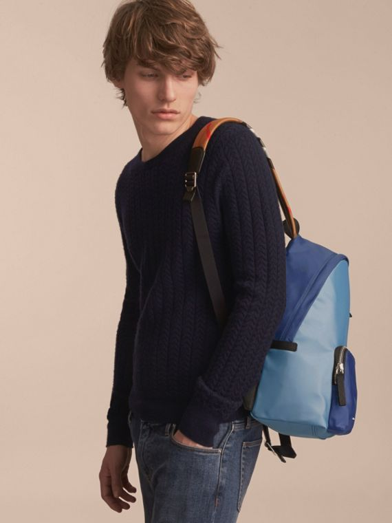 Leather and House Check Trim Technical Backpack in Slate Blue - cell image 2