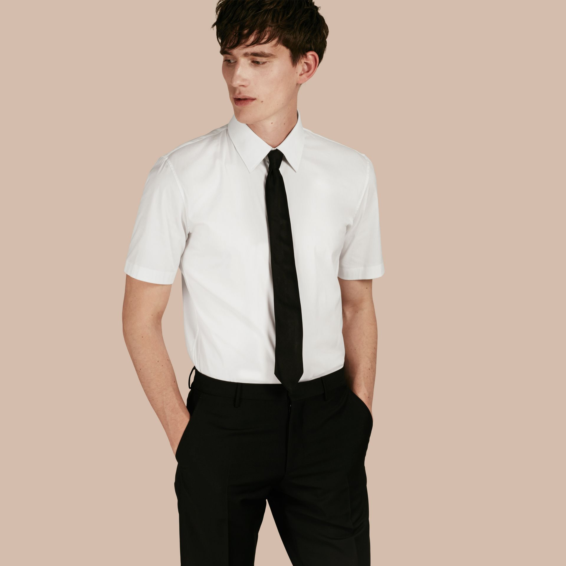 Slim Fit Short-sleeved Stretch Cotton Shirt - Men | Burberry - gallery image 1