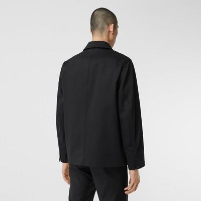 Logo Applique Bonded Cotton Sateen Jacket In Black Men Burberry