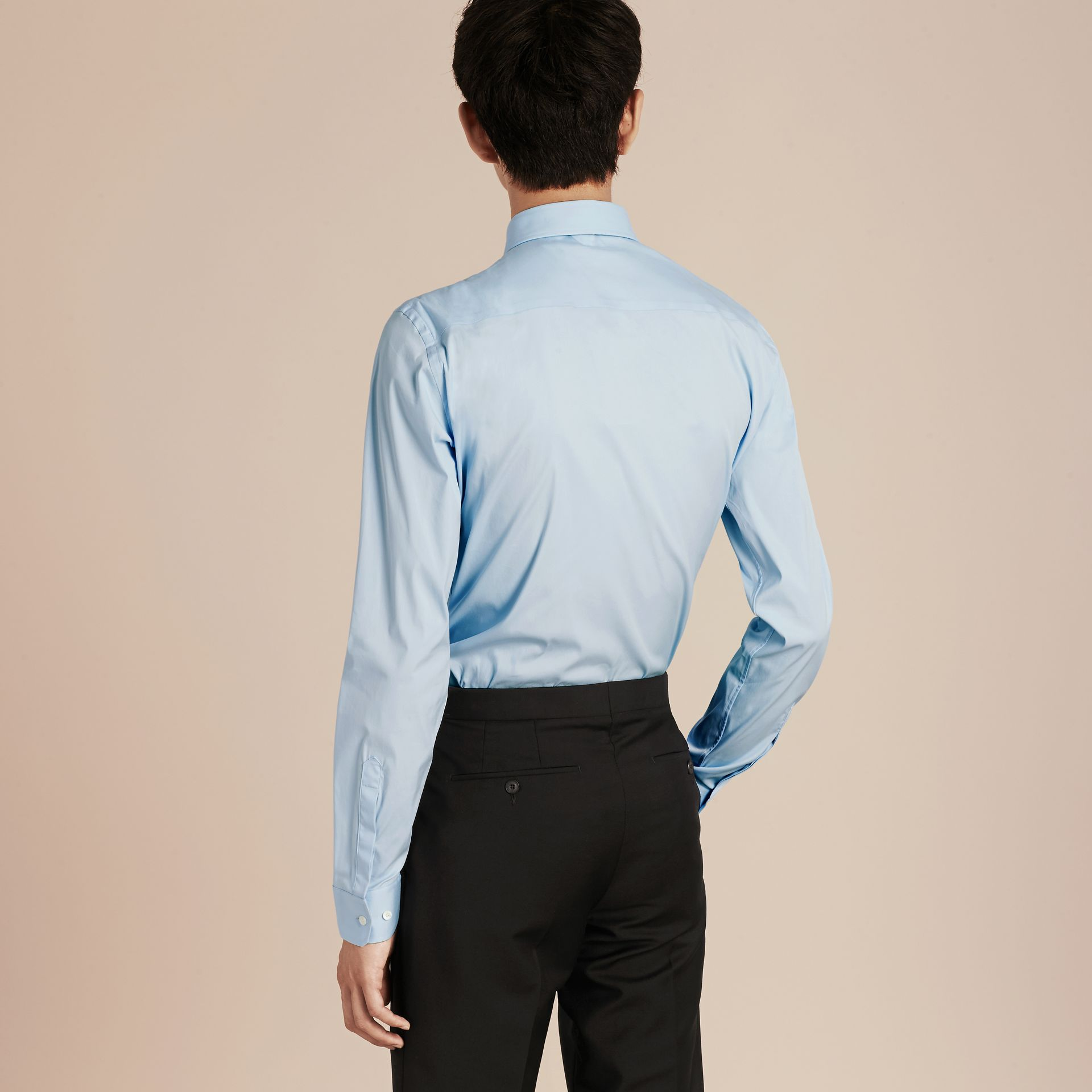 Slim Fit Stretch Cotton Poplin Shirt in City Blue - gallery image 3