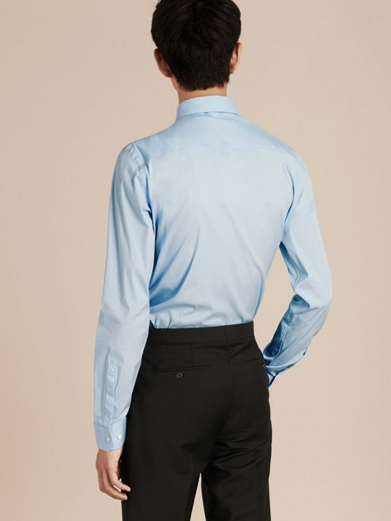 Slim Fit Stretch Cotton Poplin Shirt in City Blue - cell image 2