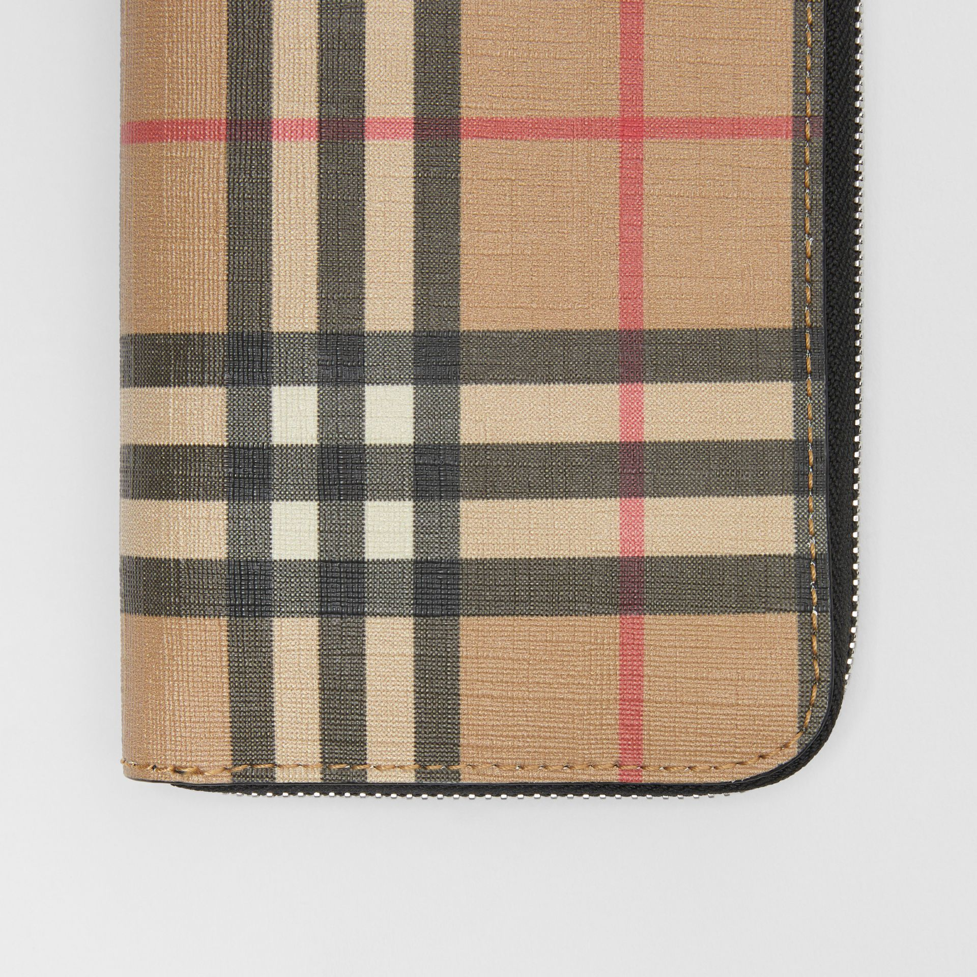 Vintage Check E-canvas Ziparound Wallet in Archive Beige - Men | Burberry - gallery image 1