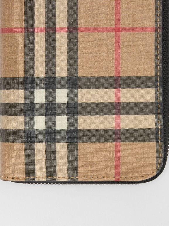 Vintage Check E-canvas Ziparound Wallet in Archive Beige - Men | Burberry Australia - cell image 1