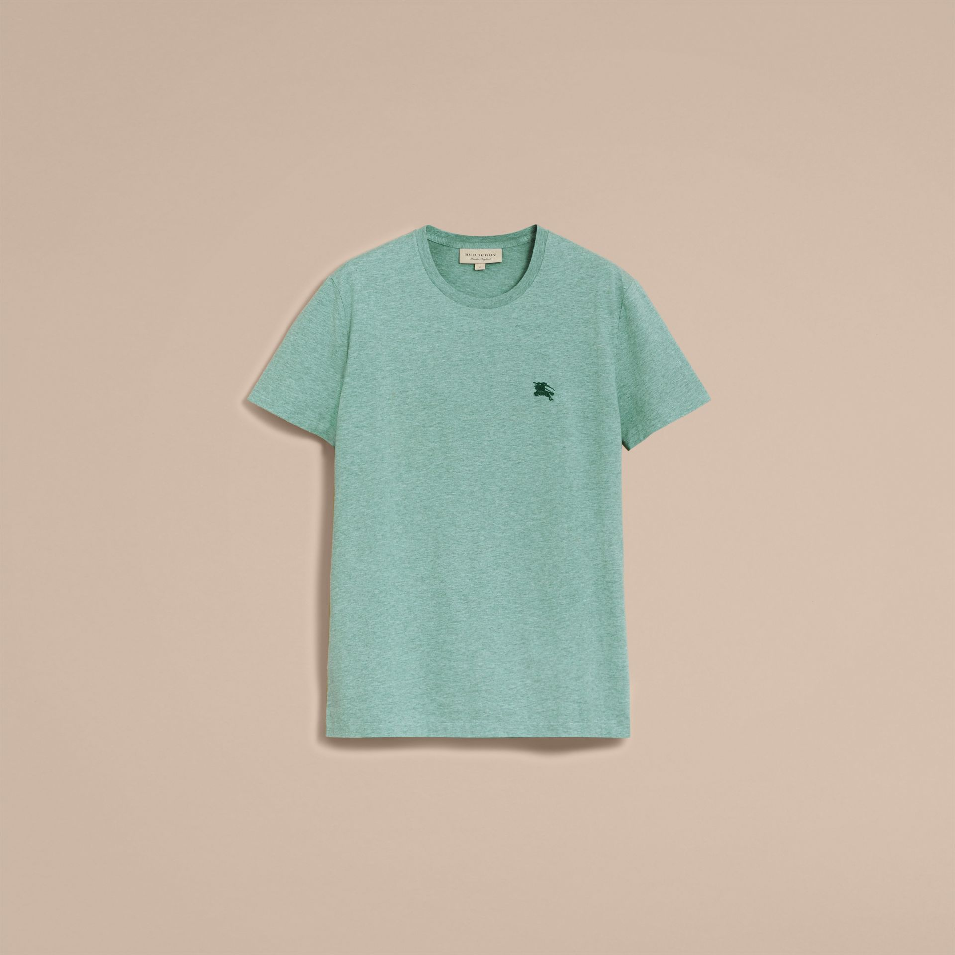 Cotton Jersey T-shirt in Storm Green Melange - Men | Burberry Singapore - gallery image 4
