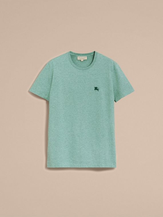 Cotton Jersey T-shirt in Storm Green Melange - Men | Burberry - cell image 3