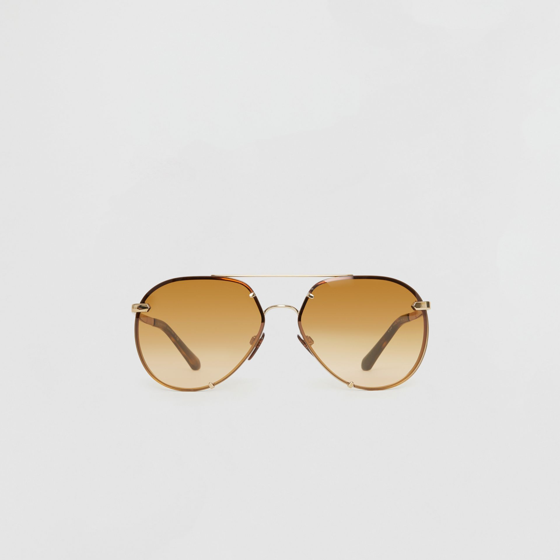 Check Detail Pilot Sunglasses in Brown - Women | Burberry - gallery image 0